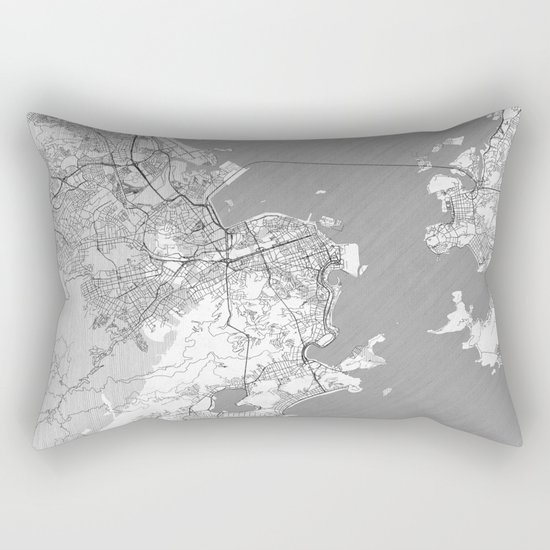 Rio de Janerio Map Line Rectangular Pillow