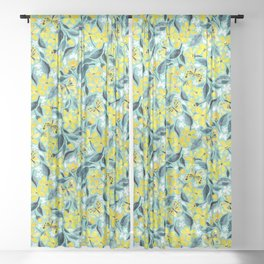 Yellow and Teal Summer Floral with Butterflies and Blooms Sheer Curtain
