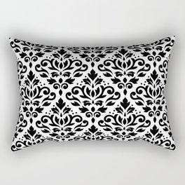 Scroll Damask Big Pattern Black on White Rectangular Pillow