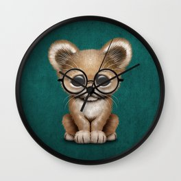 Cute Baby Lion Cub Wearing Glasses on Blue Wall Clock