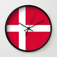 denmark Wall Clocks featuring denmark country flag by tony tudor