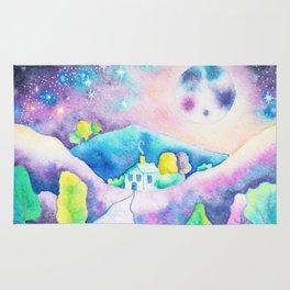 Magical Moonscape - Fantasy Watercolor Landcape Mountains, Full Moon, & Trees Rug
