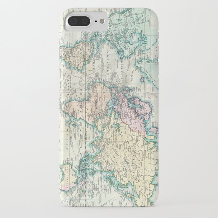 vintage map of the world (1801) iphone case