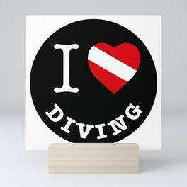 I Love Diving, Scuba Diving t-shirt, diving sticker Mini Art Print