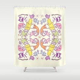 Symmetry Pastelcolor Cute Cats Shower Curtain