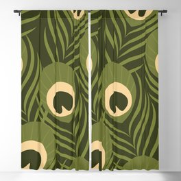 Peacock Feather Pattern Blackout Curtain