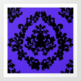 Victorian Damask Purple and Black Art Print