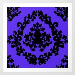 Victorian Damask Purple and Black Art Print