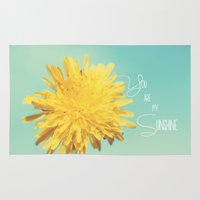 you are my sunshine Area & Throw Rugs featuring You are my Sunshine by Beth - Paper Angels Photography
