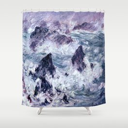 Monet : Storm At Belle Ile Shower Curtain