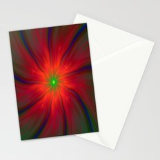 Green Eyed Swirl on Red Stationery Cards