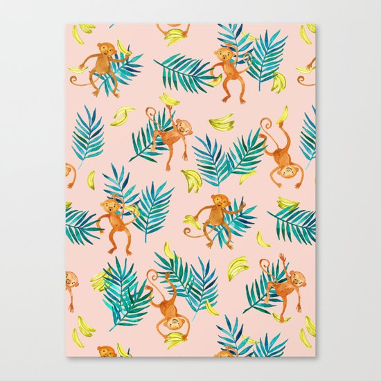 Tropical Monkey Banana Bonanza on Blush Pink Canvas Print
