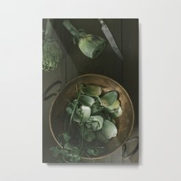 Artichokes on a vintage copper pot. Metal Print