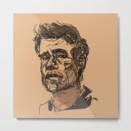 man on peach background Metal Print