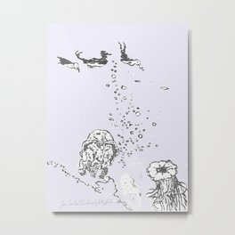 Two Tailed Duck and Jellyfish Lavender Metal Print
