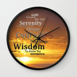Serenity Prayer With Sunset By Sharon Cummings Wall Clock