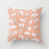 picasso Throw Pillows featuring Picasso Cats by leah reena goren