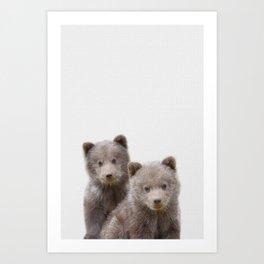 Twin baby bear art, kid bears art, lover nursery art, Woodland animals, gift for baby twin Art Print