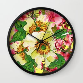 CONTEMPORARY PINK & CREAMY WHITE SPRING FLOWERS Wall Clock