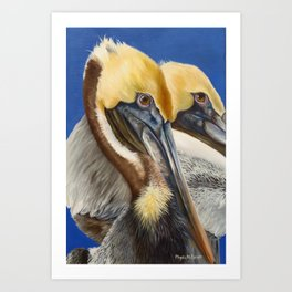 A Portrait Of Two Pelicans Art Print