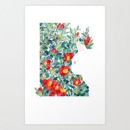 Camelia Cat Art Print