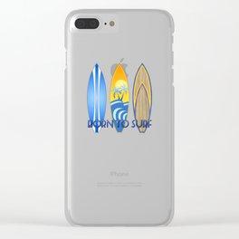 Born To Surf Hawaiian Clear iPhone Case