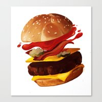 hamburger Canvas Prints featuring Hamburger by Hikkaphobia
