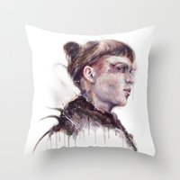 grimes Throw Pillows featuring Grimes II by beart24