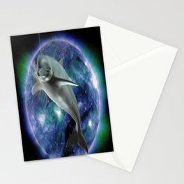 Space dolphin Stationery Cards