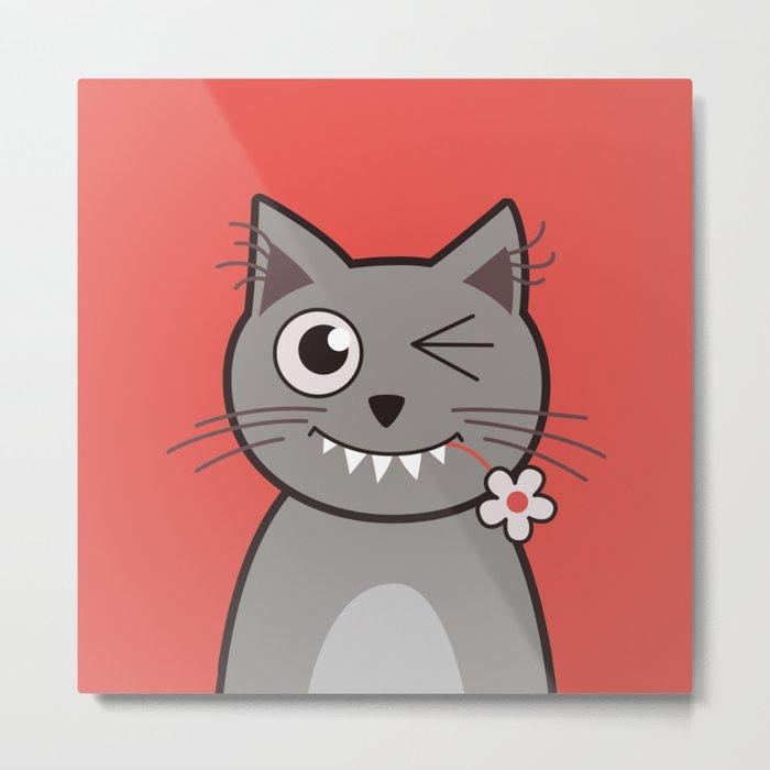 Winking Cartoon Kitty Cat Metal Print