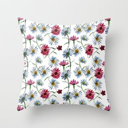 Watercolor rose and blue camomiles Throw Pillow