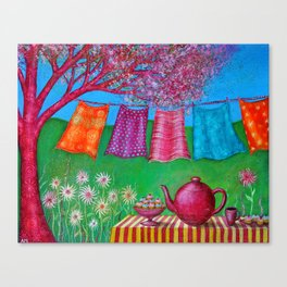 Spring Washing Line Canvas Print