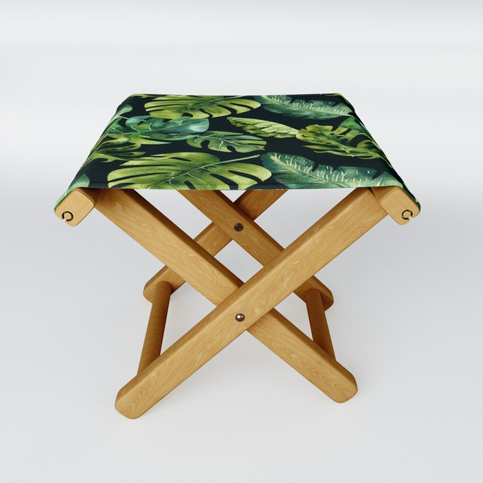 Watercolor Botanical Tropical Palm Leaves on Solid Black Background Folding Stool