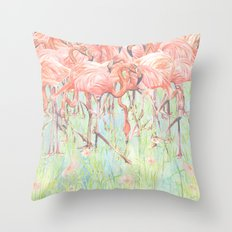 Flamingo Meadow Throw Pillow