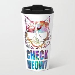 Check Meowt Cat Sunglasses nebula Travel Mug