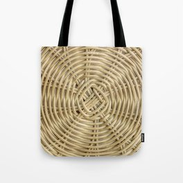 Rattan wickerwork texture closeup from above Tote Bag