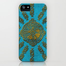 Hunab Ku Mayan symbol Vintage gold on old stone iPhone Case