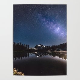 Summer Stars - Galaxy Mountain Reflection - Nature Photography Poster