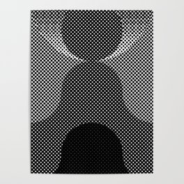 Shadows, mountains, a big eye, all made out of small dots. Black and white. Poster