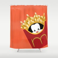 potato Shower Curtains featuring potato chips by Raimondo Tafuri