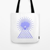 evil eye Tote Bags featuring EVIL EYE by Anna Lindner