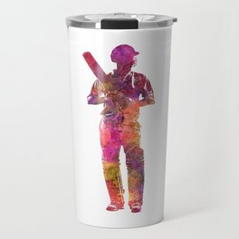Cricket player batsman silhouette 10 Travel Mug