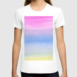 Hand painted pink blue yellow ombre watercolor paint T-shirt