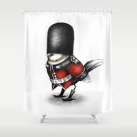 royal Shower Curtains featuring Royal guard by Sandra Ink