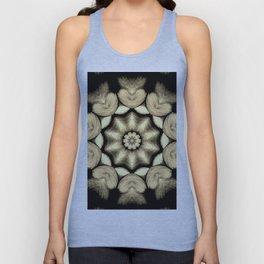 Beige Black Heart Mandala Kaleidoscope Pattern Unisex Tank Top