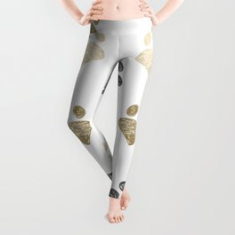 Doodle grey and gold paw print seamless fabric design repeated pattern background Leggings