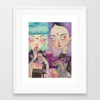 loll3 Framed Art Prints featuring Pizza Party by lOll3
