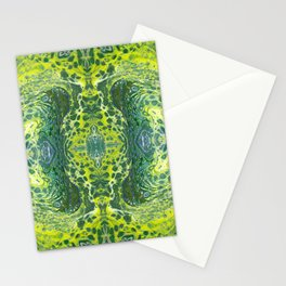 Psycho - Sea Turtle Illusions Swimming in a Yellow Happy Place by annmariescreations Stationery Cards