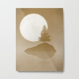 Pine Tree Island Lake: Rustic Sunset Landscape  Metal Print