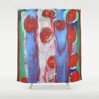 leah flores Shower Curtains featuring FLORES by S.Queimado-Lima